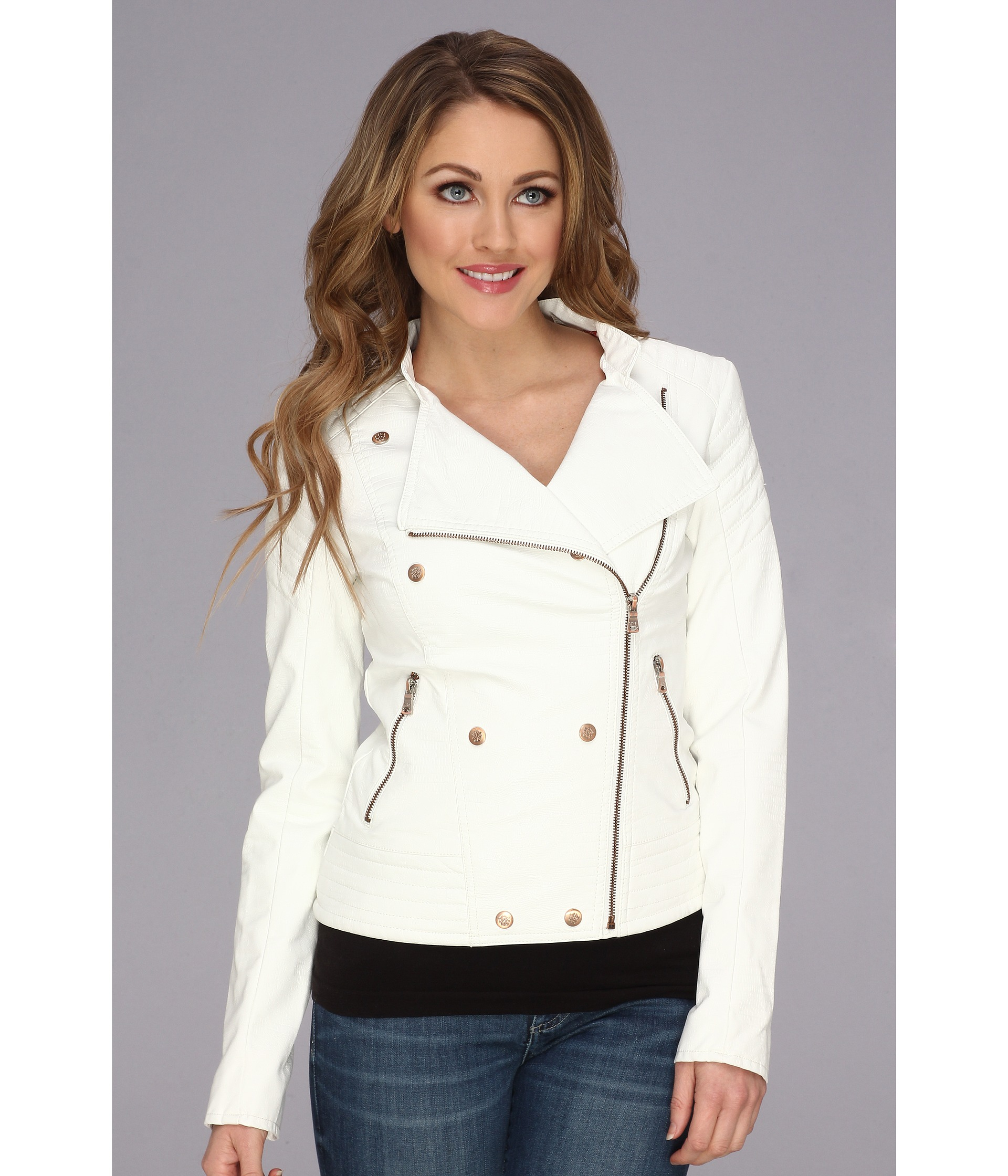 e360b3b9bb0 Lyst - Jessica Simpson Quilted Faux Leather Motorcycle Jacket in White