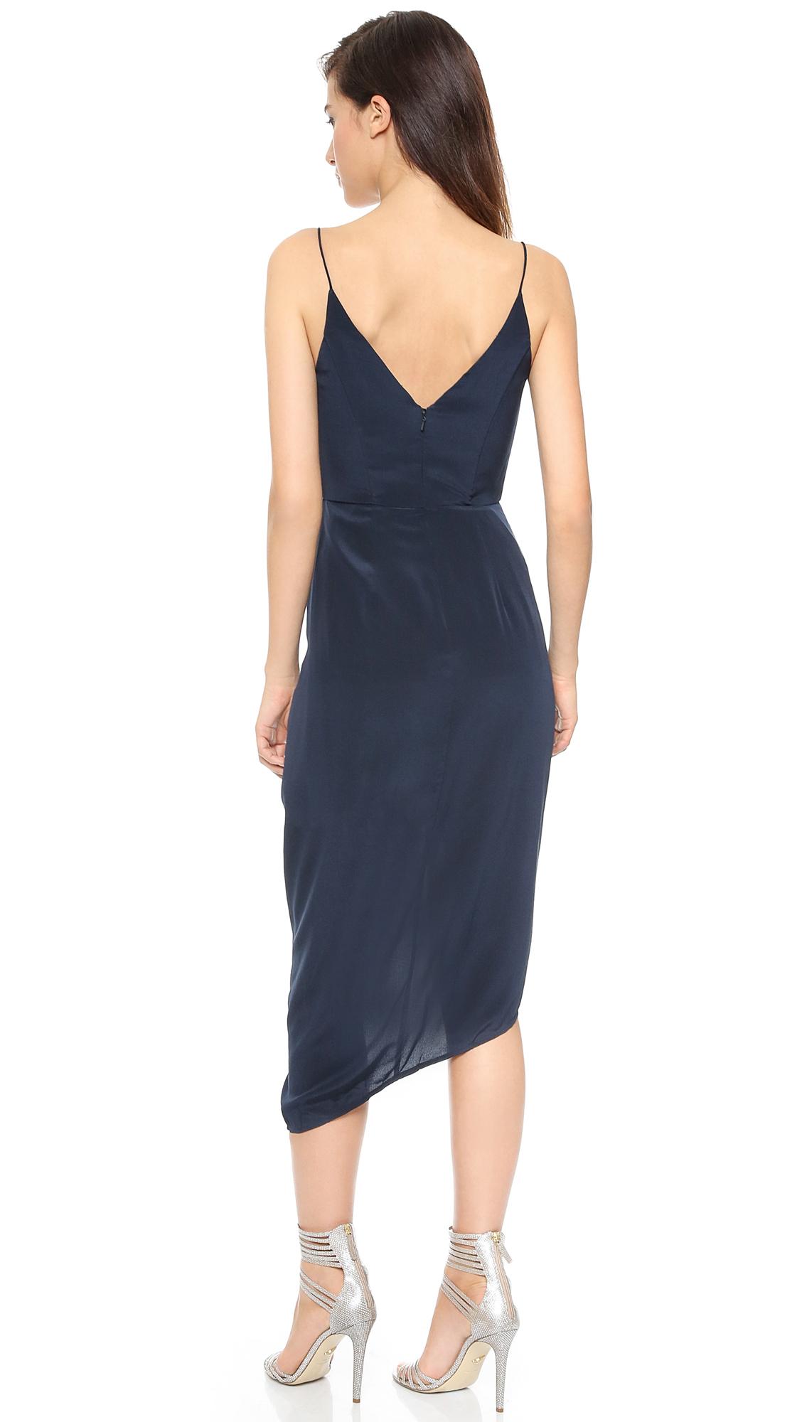 Zimmermann Faux Wrap Silk Dress In Blue Lyst