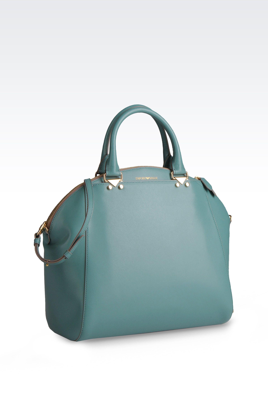 Lyst - Emporio Armani Bugatti Bag In Boarded Calfskin in Green 0097953a4f9e6