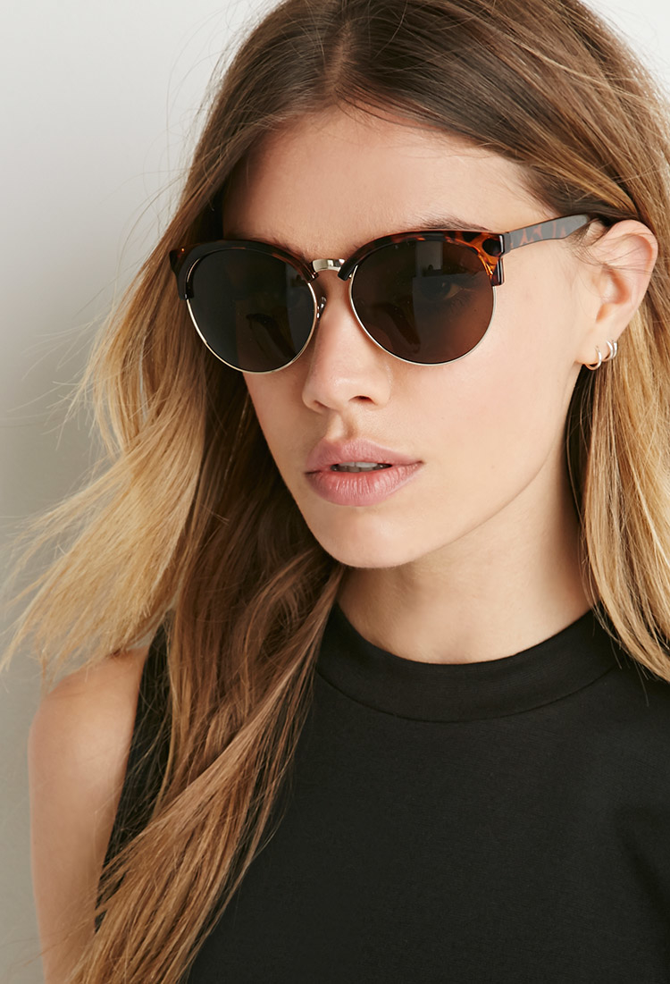 Browline Sunglasses  forever 21 tortoises browline sunglasses in brown lyst