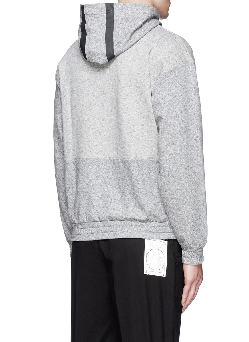 lyst mcq tape print oversize hoodie in gray for men. Black Bedroom Furniture Sets. Home Design Ideas