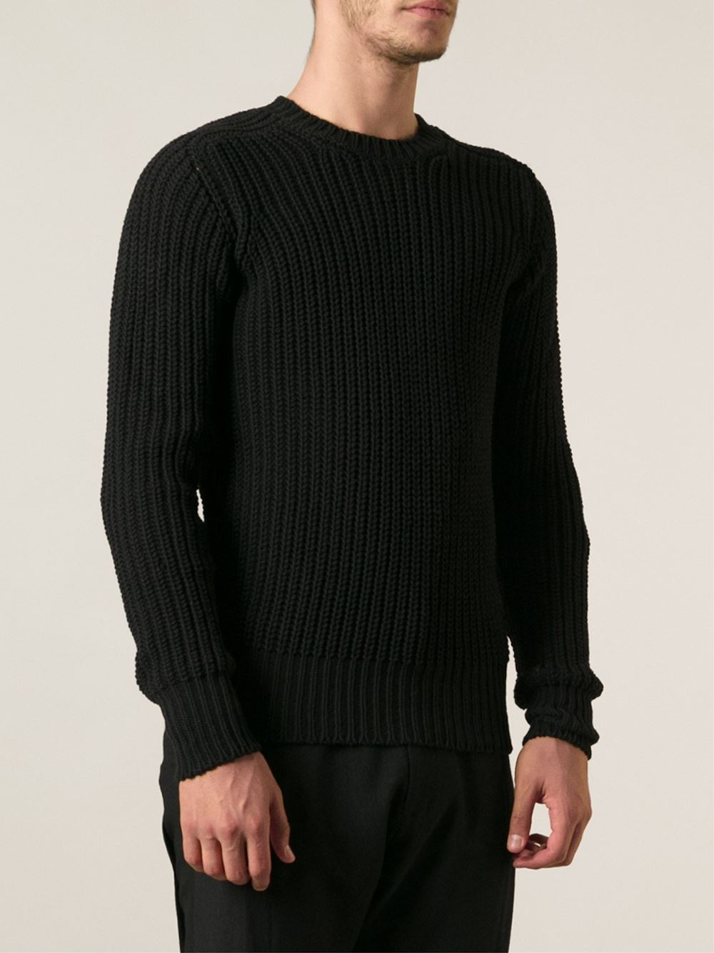 Rick owens Ribbed Sweater in Black for Men | Lyst