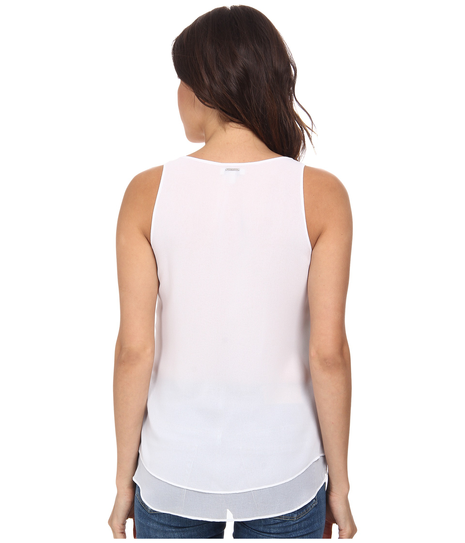calvin klein jeans printed clean high low tank top in white alarm lyst. Black Bedroom Furniture Sets. Home Design Ideas
