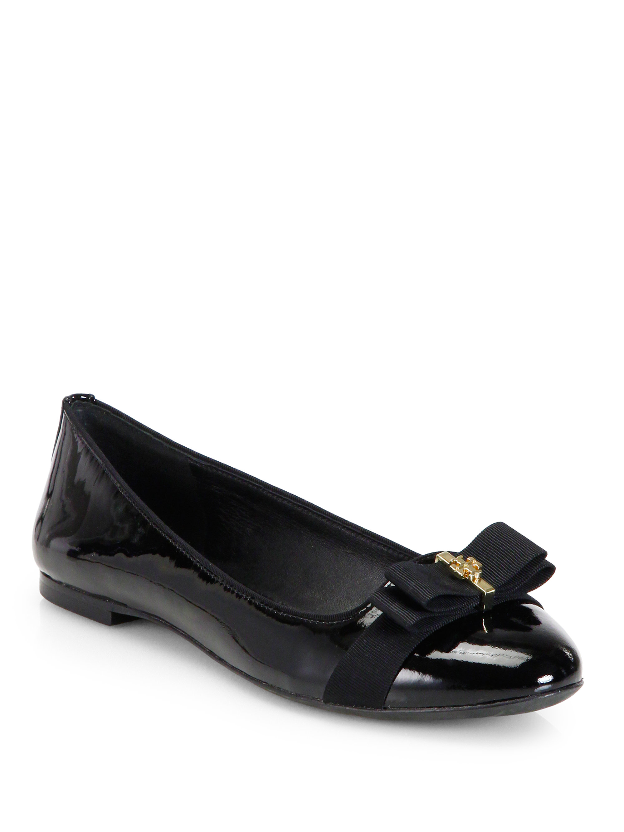 ba004bd94391 Tory Burch Trudy Patent Leather Ballet Flats in Black