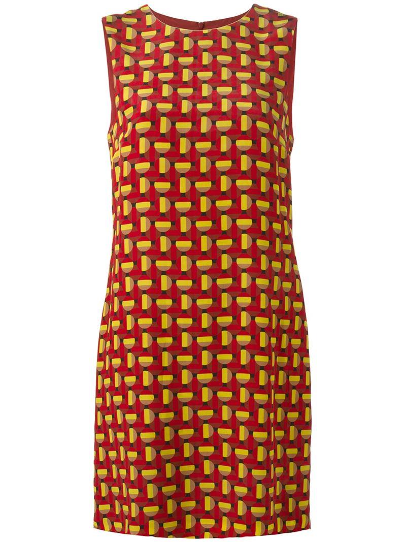 m missoni geometric pattern dress in brown lyst