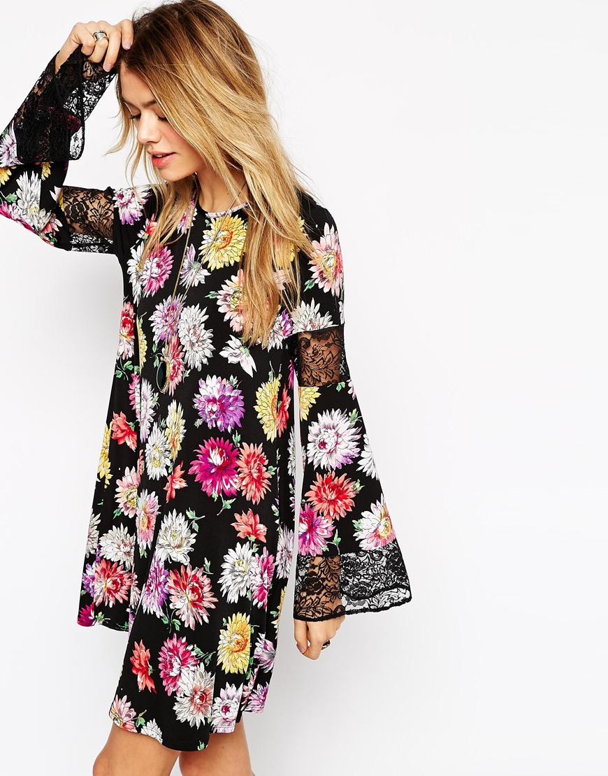 Lyst Asos Boho Swing Dress In Floral Print With Lace
