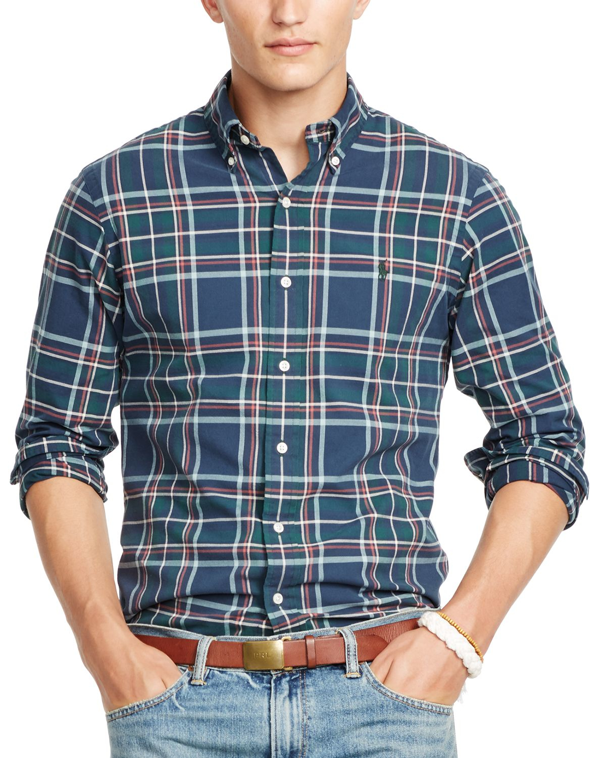 9cce29921 ... promo code for lyst ralph lauren polo plaid oxford shirt in blue for men  e2124 976d2