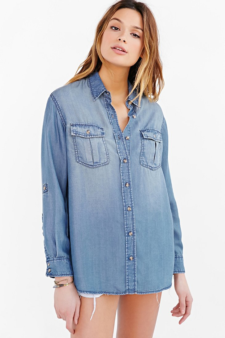 Bdg chambray button down shirt in blue lyst for Blue chambray shirt women s