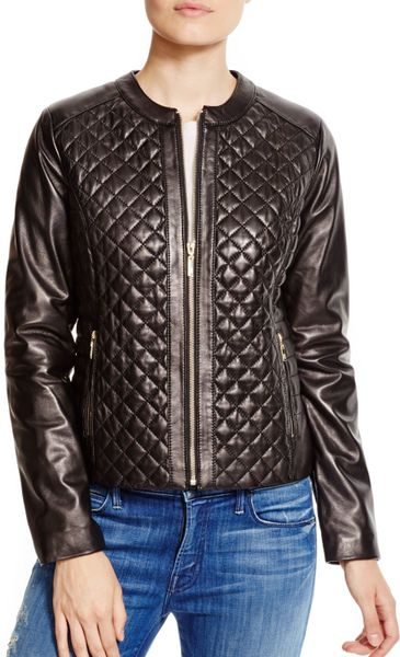Cole Haan Quilted Leather Moto Jacket In Black Lyst