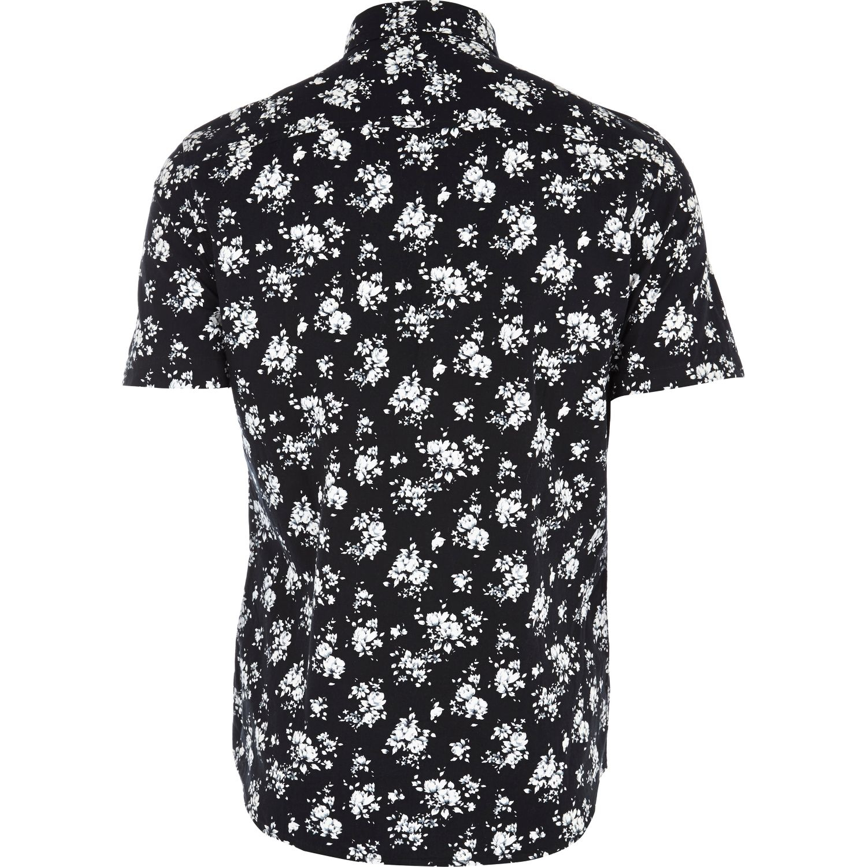 River island black floral print short sleeve shirt in for Mens short sleeve floral shirt