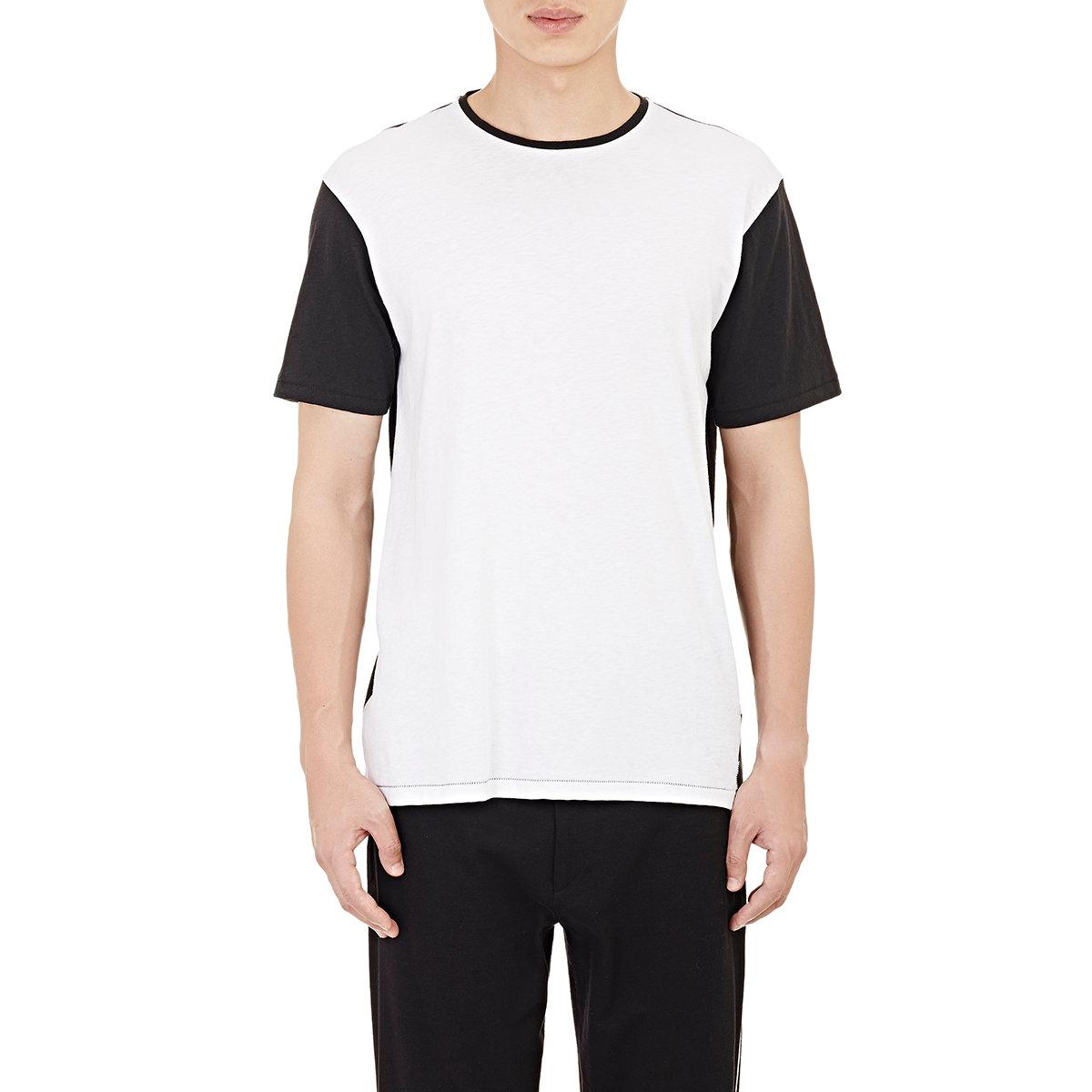 Lyst rag bone colorblocked everett t shirt in black for Rag and bone t shirts
