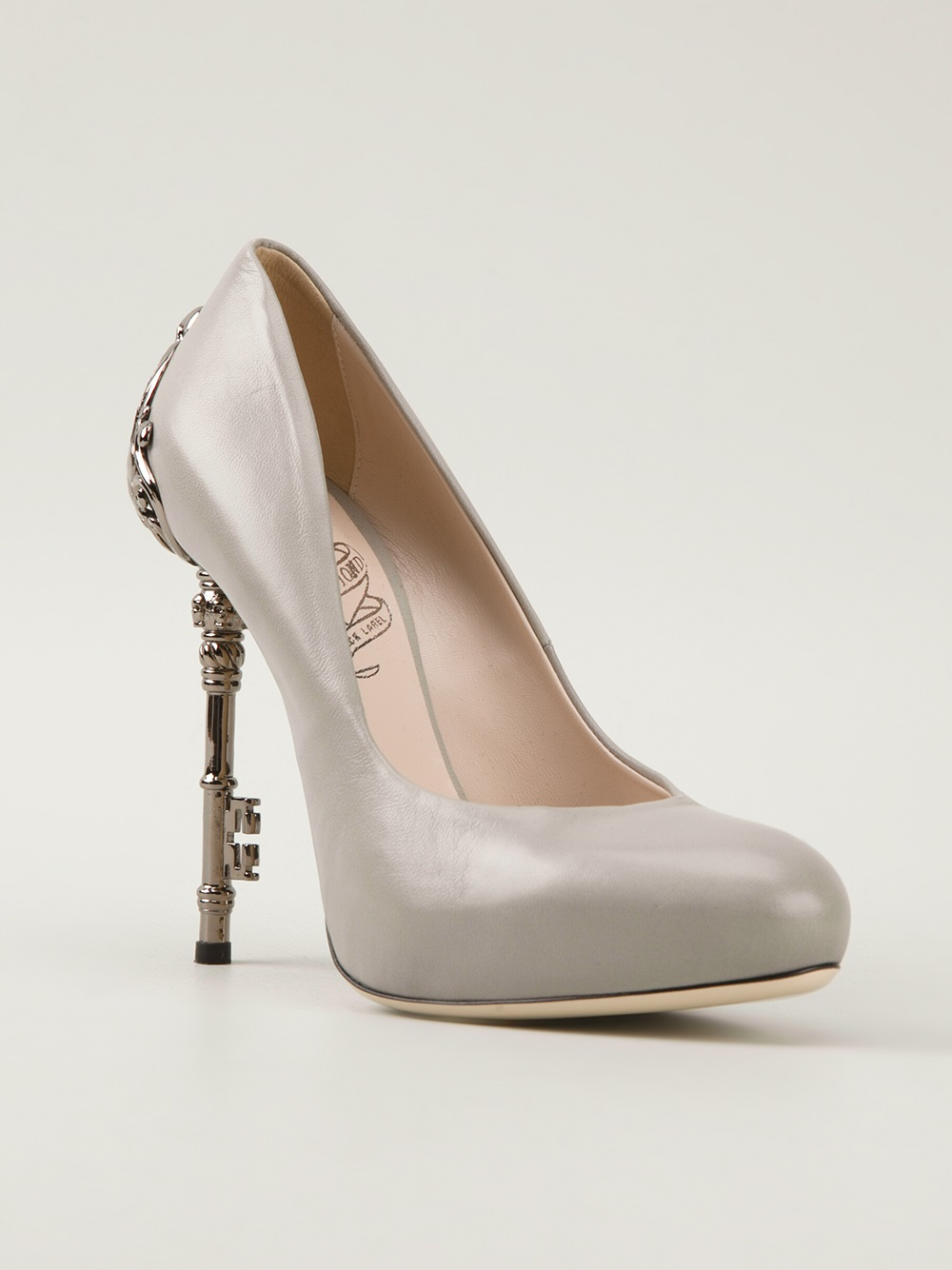 a66e23419904 Lyst - John Richmond Black Label Embellished Heel Pump in Gray