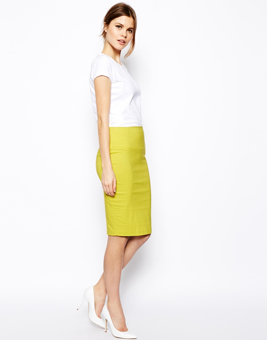 asos high waisted pencil skirt in yellow lyst
