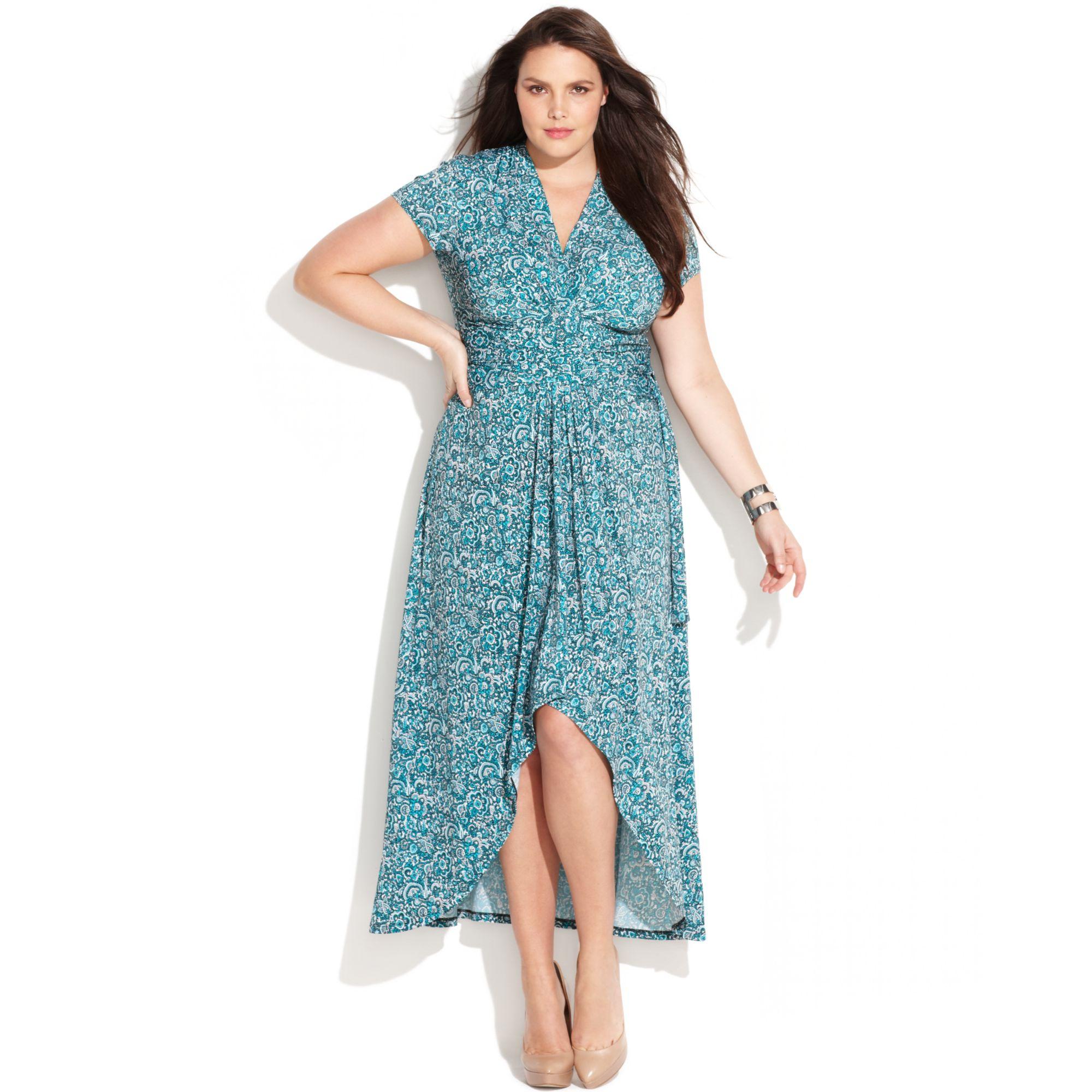 Michael Kors Blue Plus Size Printed Faux Wrap Maxi Dress