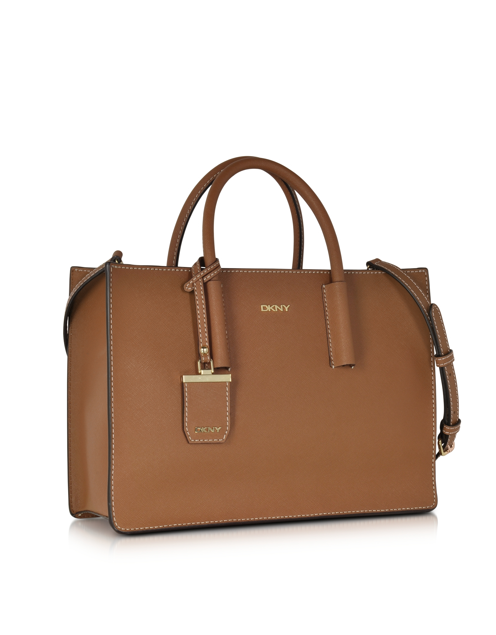 dkny bryant park saffiano leather tote bag in brown lyst