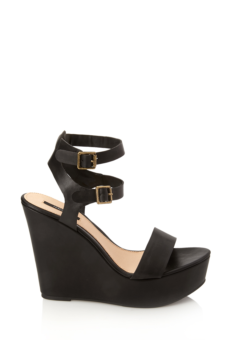 Forever 21 Go-to Wedge Sandals in Black - Lyst
