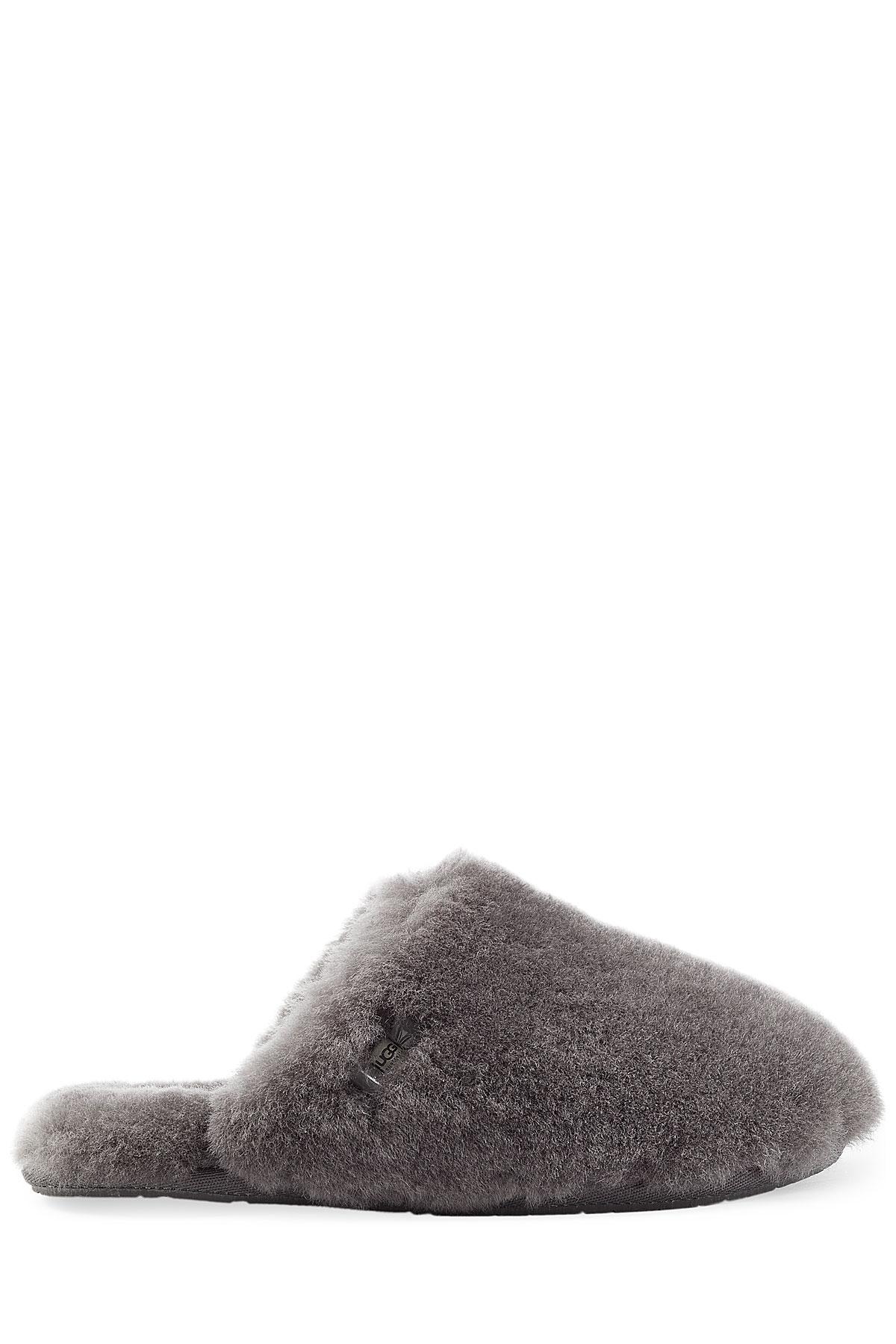 bacc6691536 UGG Gray Fluff Clog Sheepskin Slippers - Grey