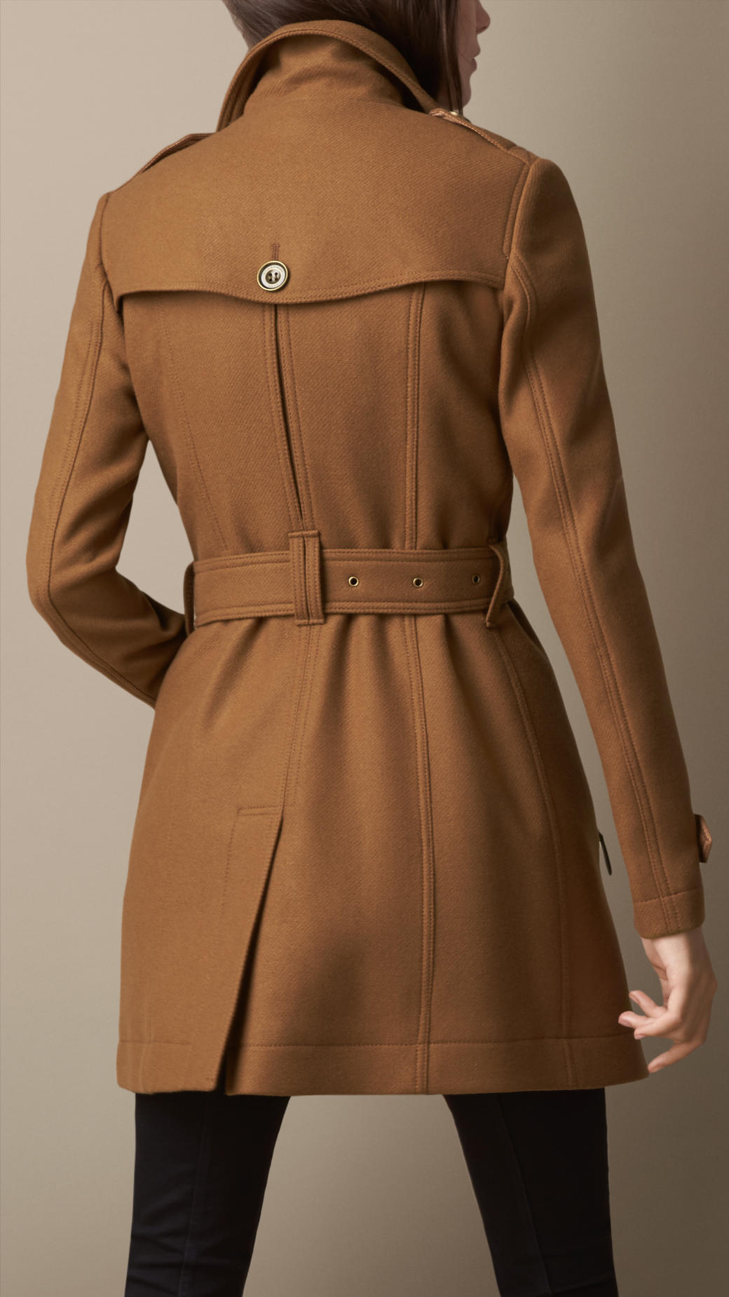 baff3cb64 Burberry Brown Short Double Wool Twill Trench Coat