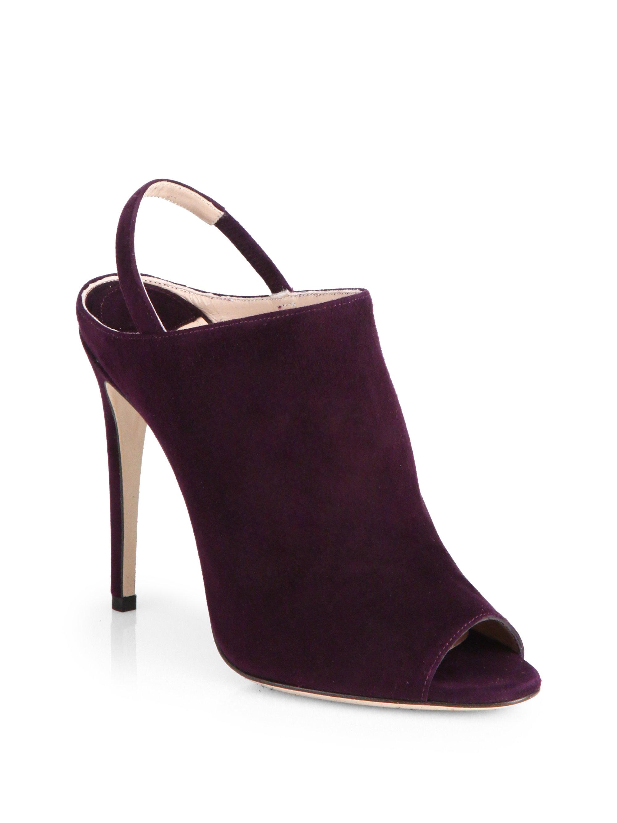Purple Suede Peep Toe Heels