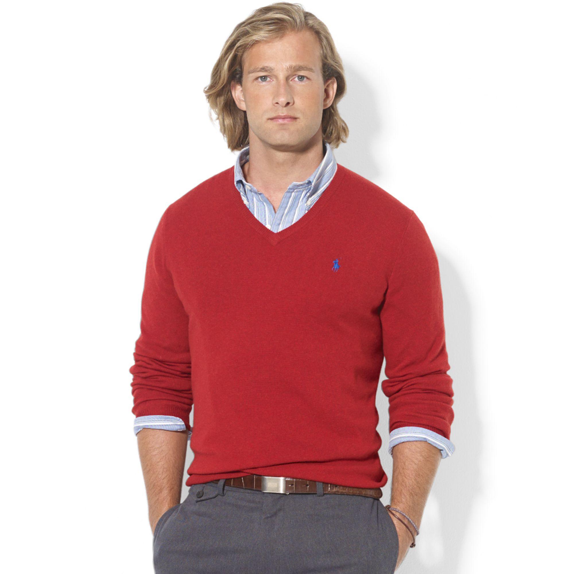Ralph lauren V Neck Merino Wool Sweater in Red for Men | Lyst