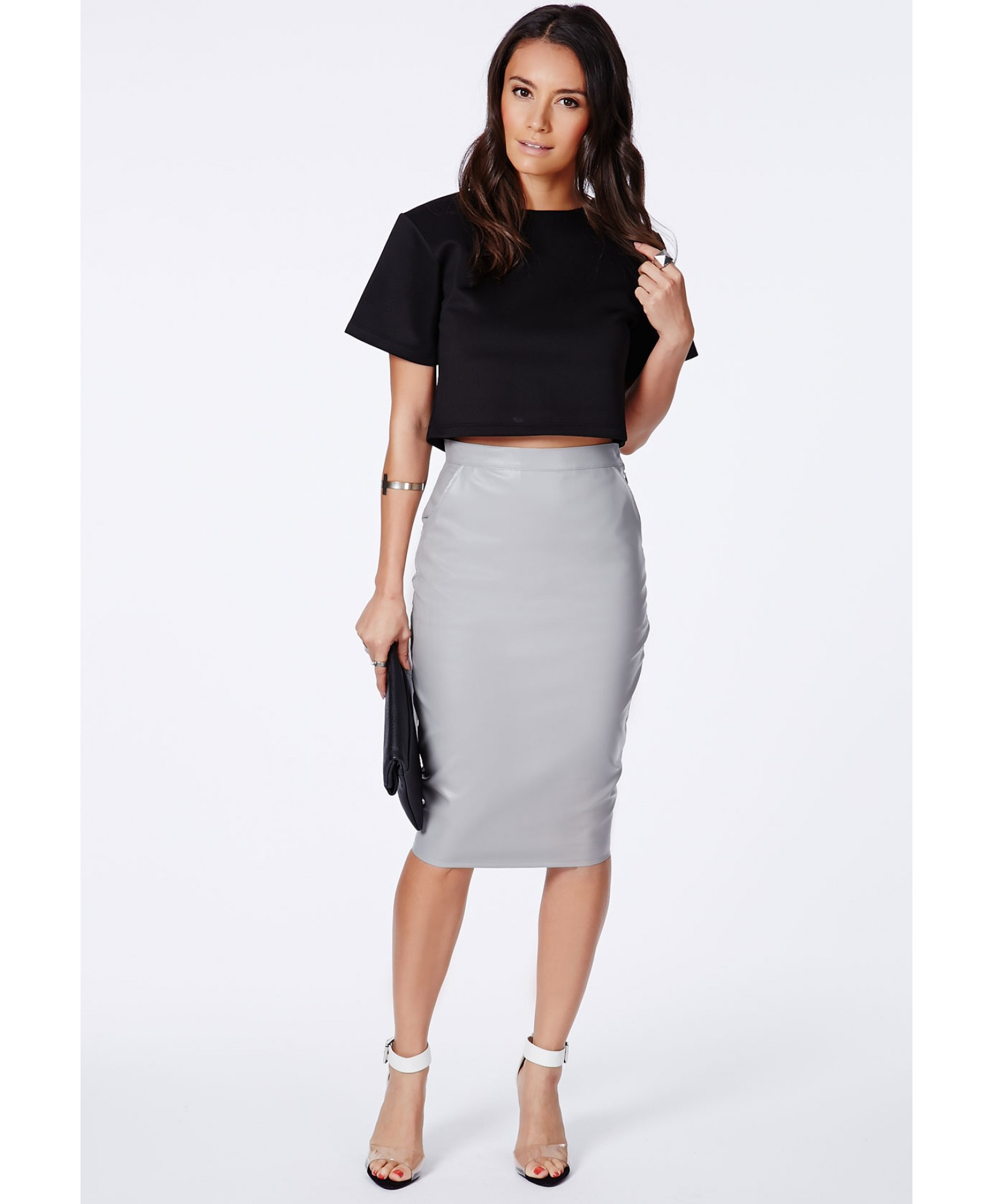 Lyst - Missguided Mariota White Faux Leather Pencil Skirt