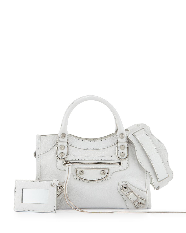 Balenciaga Cotton Metallic Edge Mini City Bag in White - Lyst