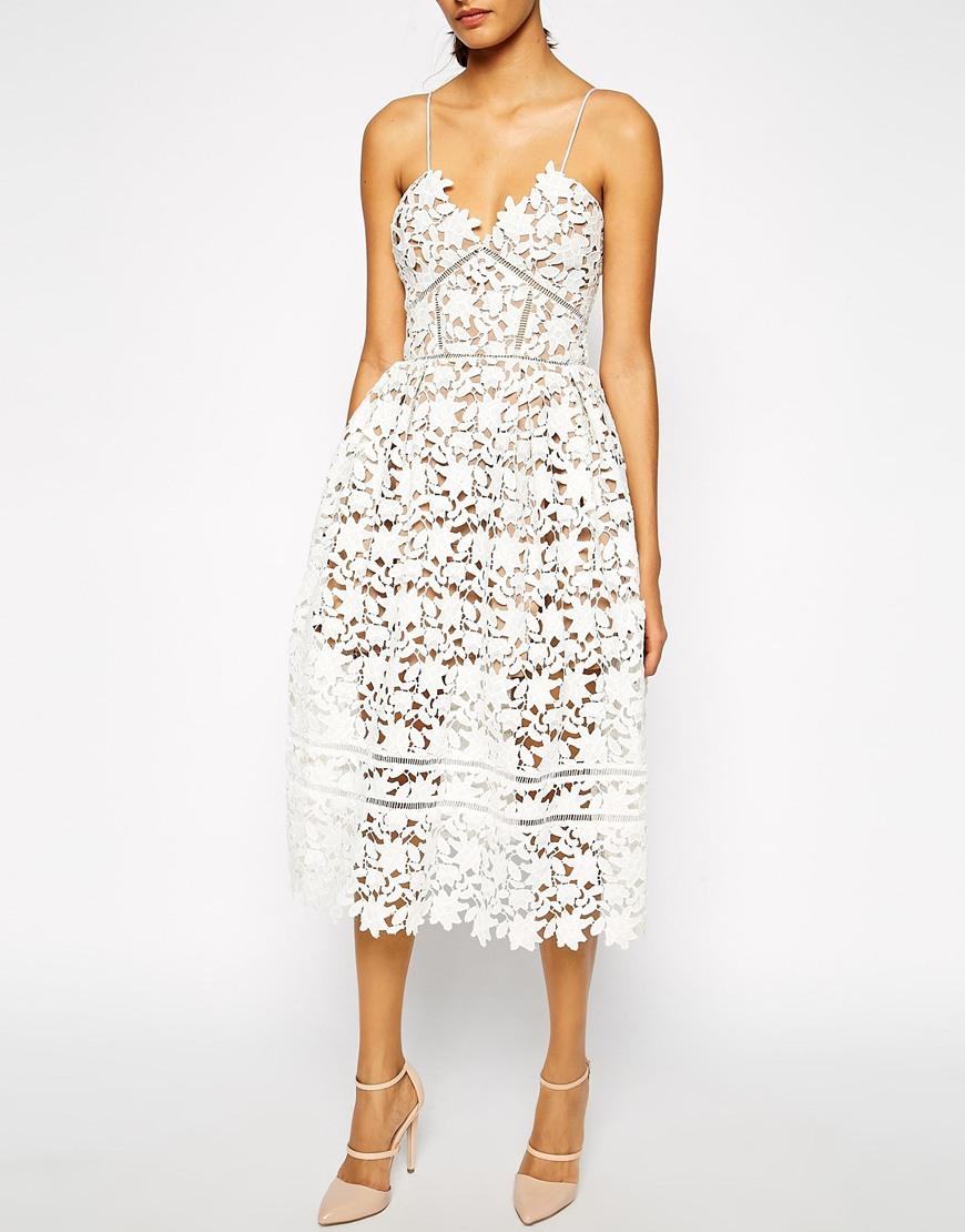 cd6f1a6688e9 Lyst - Self-Portrait Azaelea Midi Dress In Textured Lace in White
