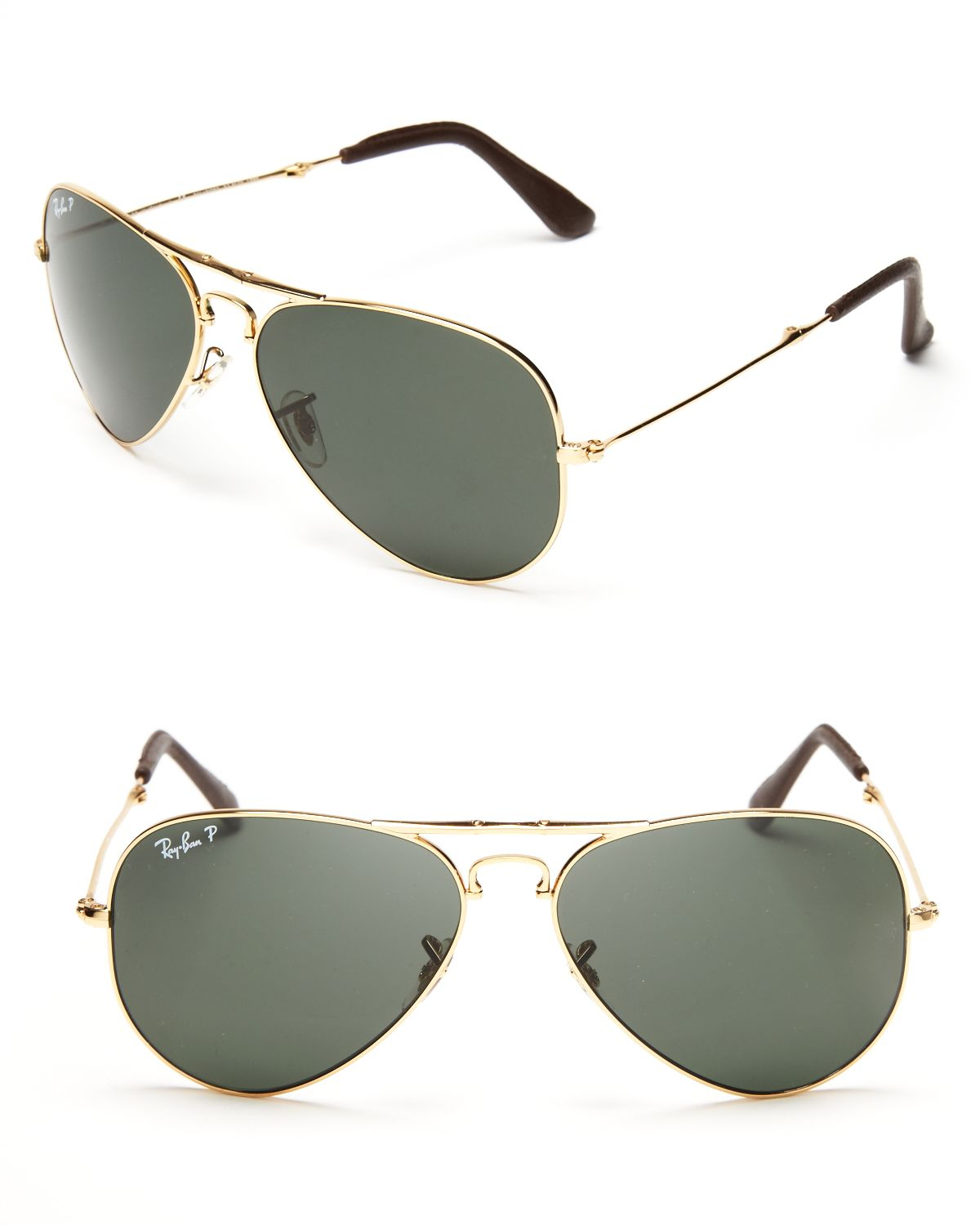 ce8ea699a9 Lyst - Ray-Ban 18k Gold Plated Foldable Polarized Aviator Sunglasses ...