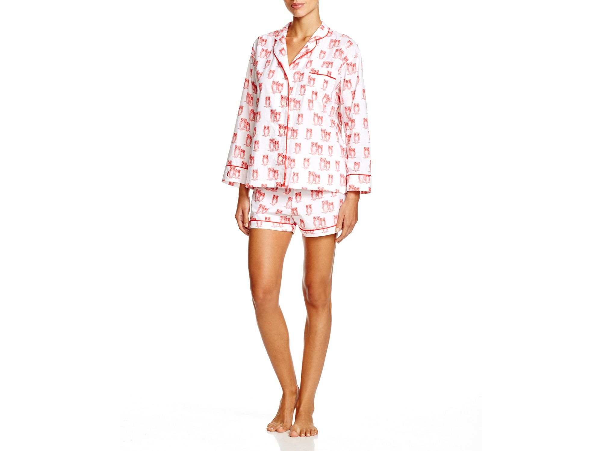 Lyst - Marigot Collection Marigot Tomato Owl Short Pajama Set in Red 981a29c67