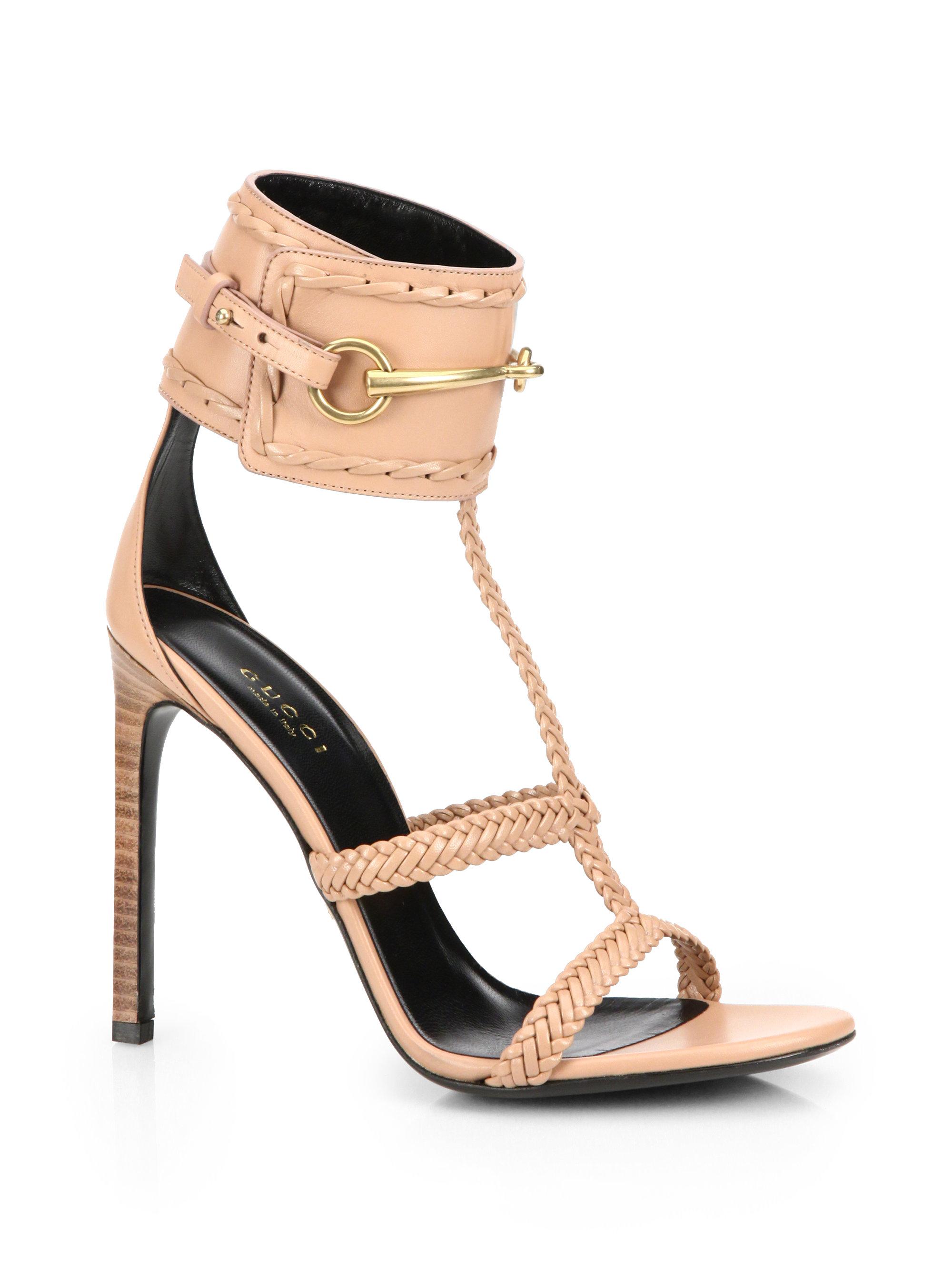 da28fd06aee50f Lyst - Gucci Ursula Horsebit Braided Sandals in Natural