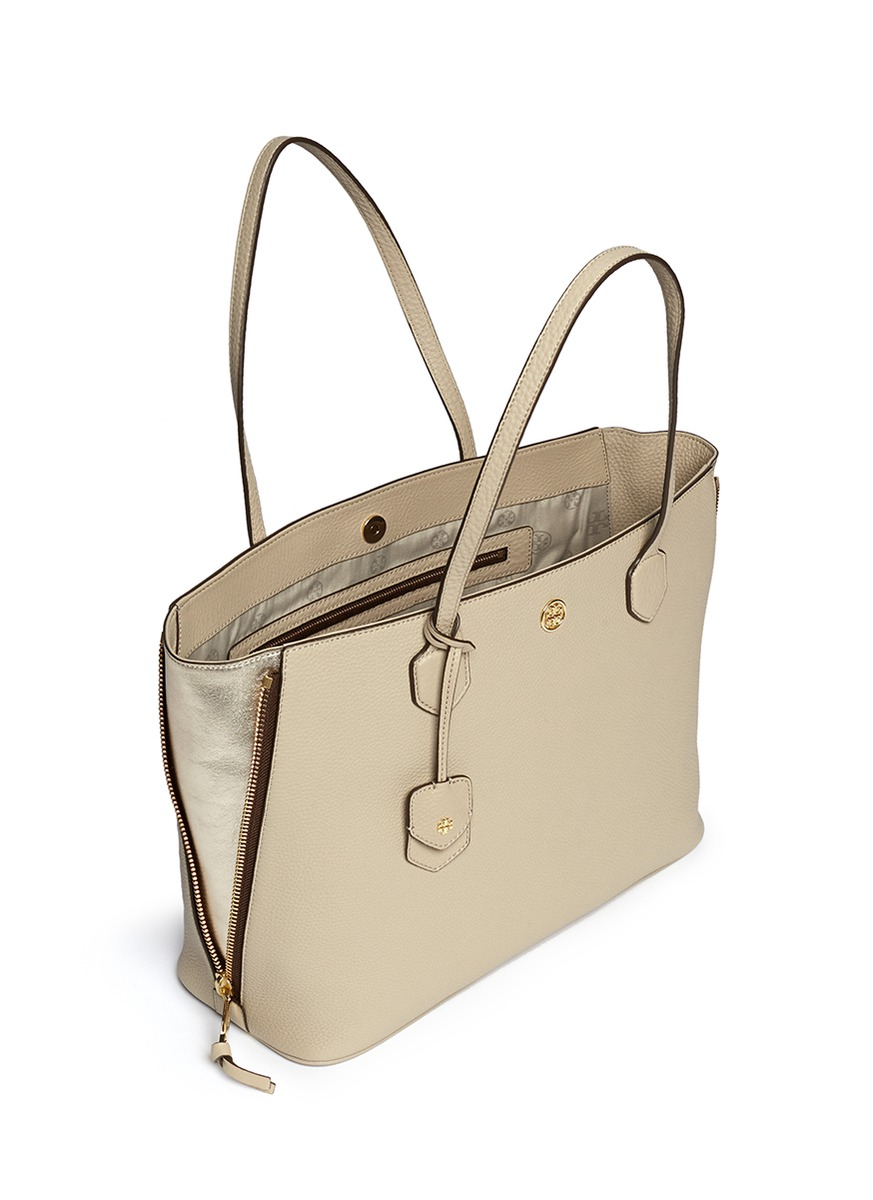 Tory Burch Robinson Side Zip Pebbled Leather Tote In