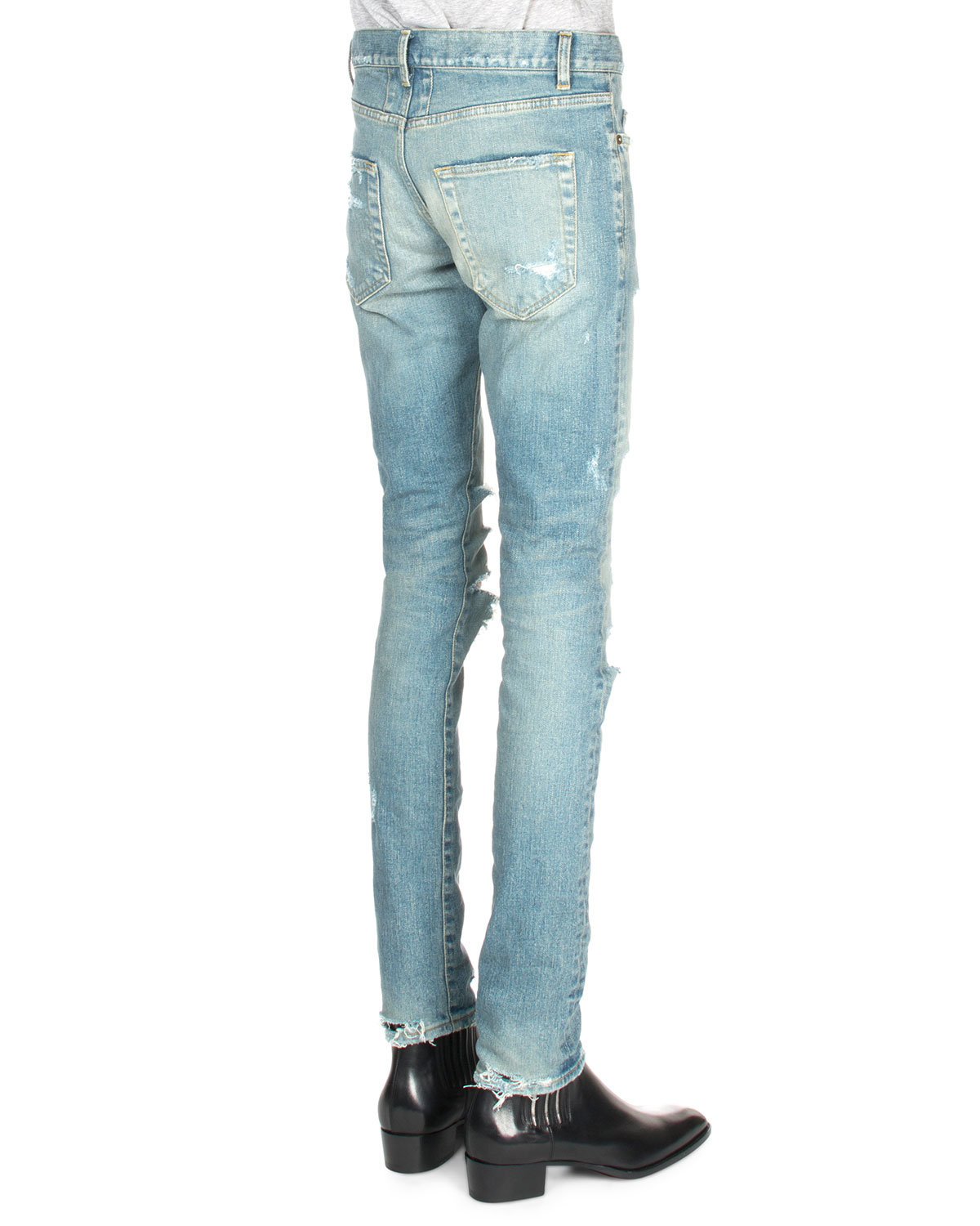 distressed boyfriend jeans - Blue Saint Laurent Outlet Countdown Package Cheap Shop For From China Free Shipping Low Price pMltsWGH