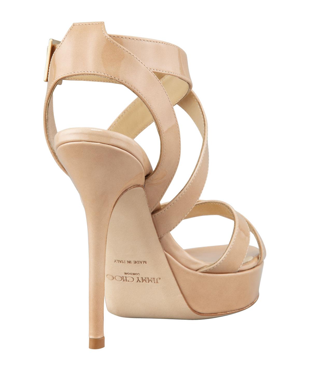 6c74db4ef1ed Lyst - Jimmy Choo Vamp Crisscross Platform Sandal Nude in Natural