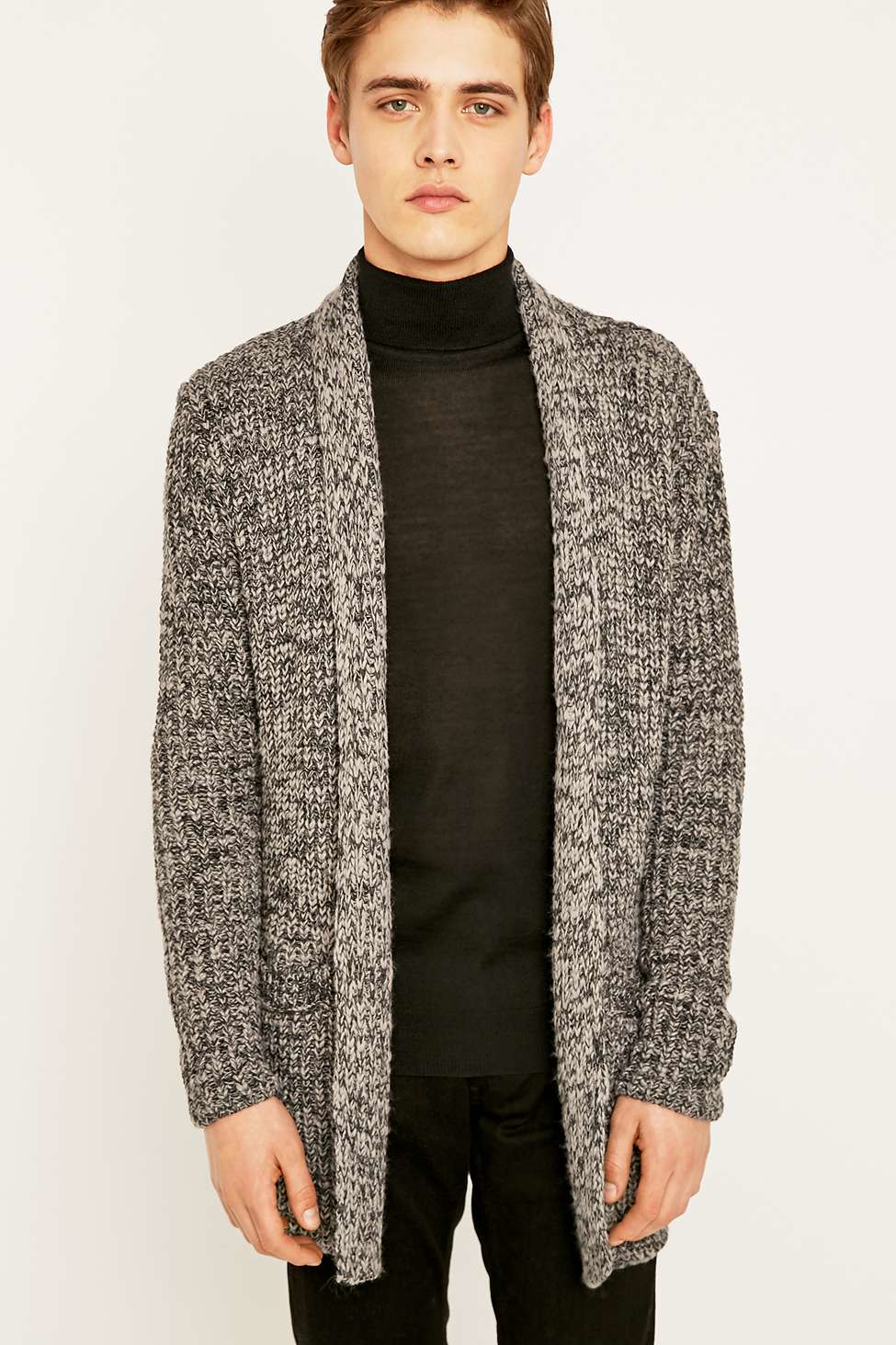 Urban outfitters Warner Waterfall Charcoal Cardigan in Gray for ...