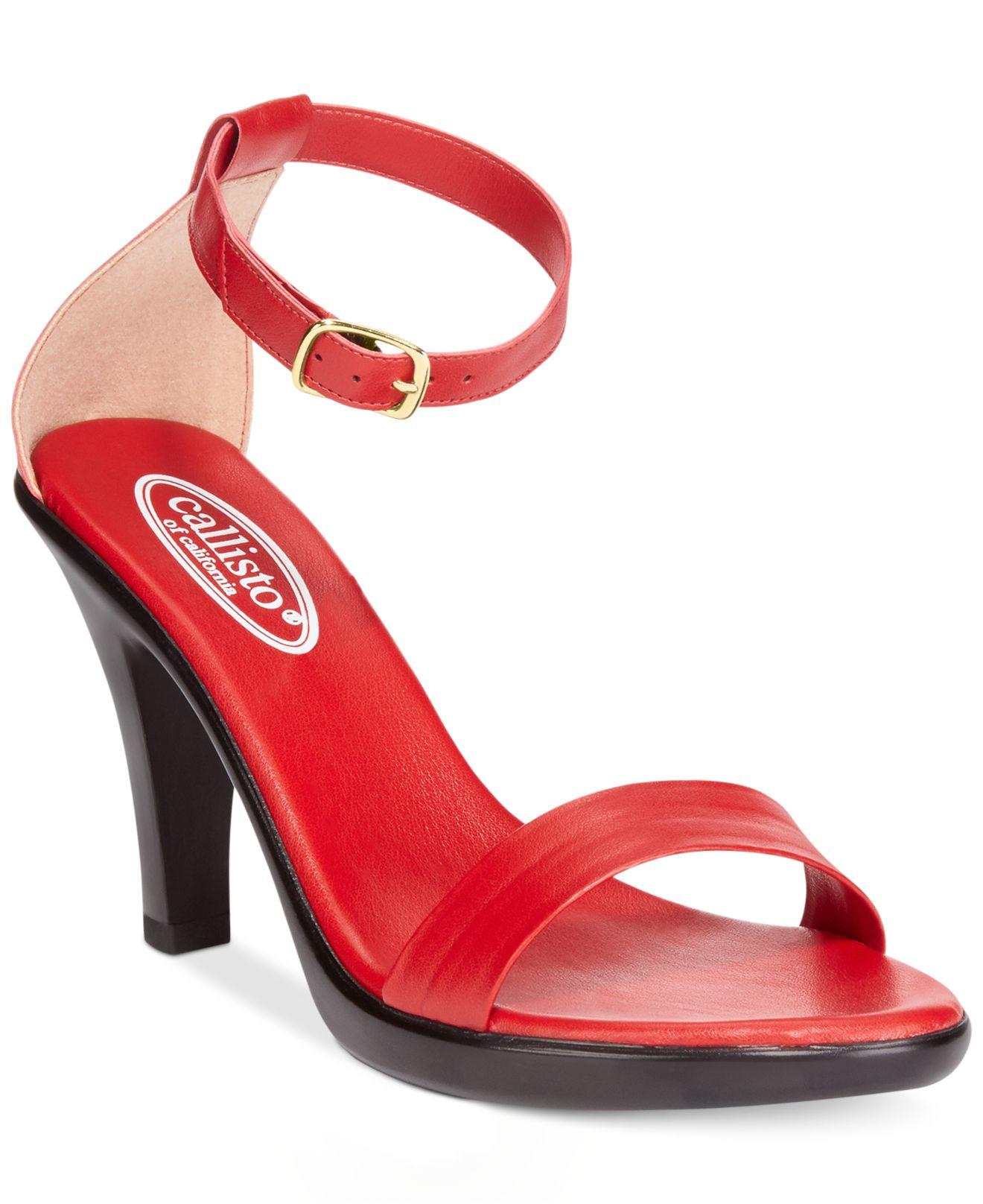 dc1039da7498 Lyst - Callisto Mantra Ankle Strap Sandals in Red