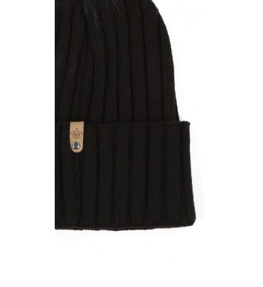 Lyst - Mackage Mac Black Knit Beanie Hat With Fur Pom Pom in Black 7f86097a8a7