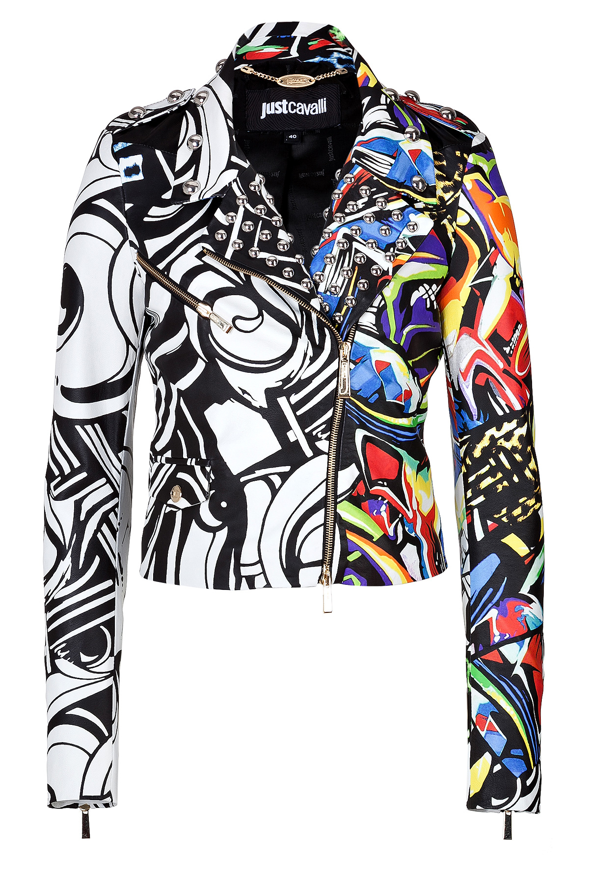 Just Cavalli Leather Graffiti Print Biker Jacket Lyst