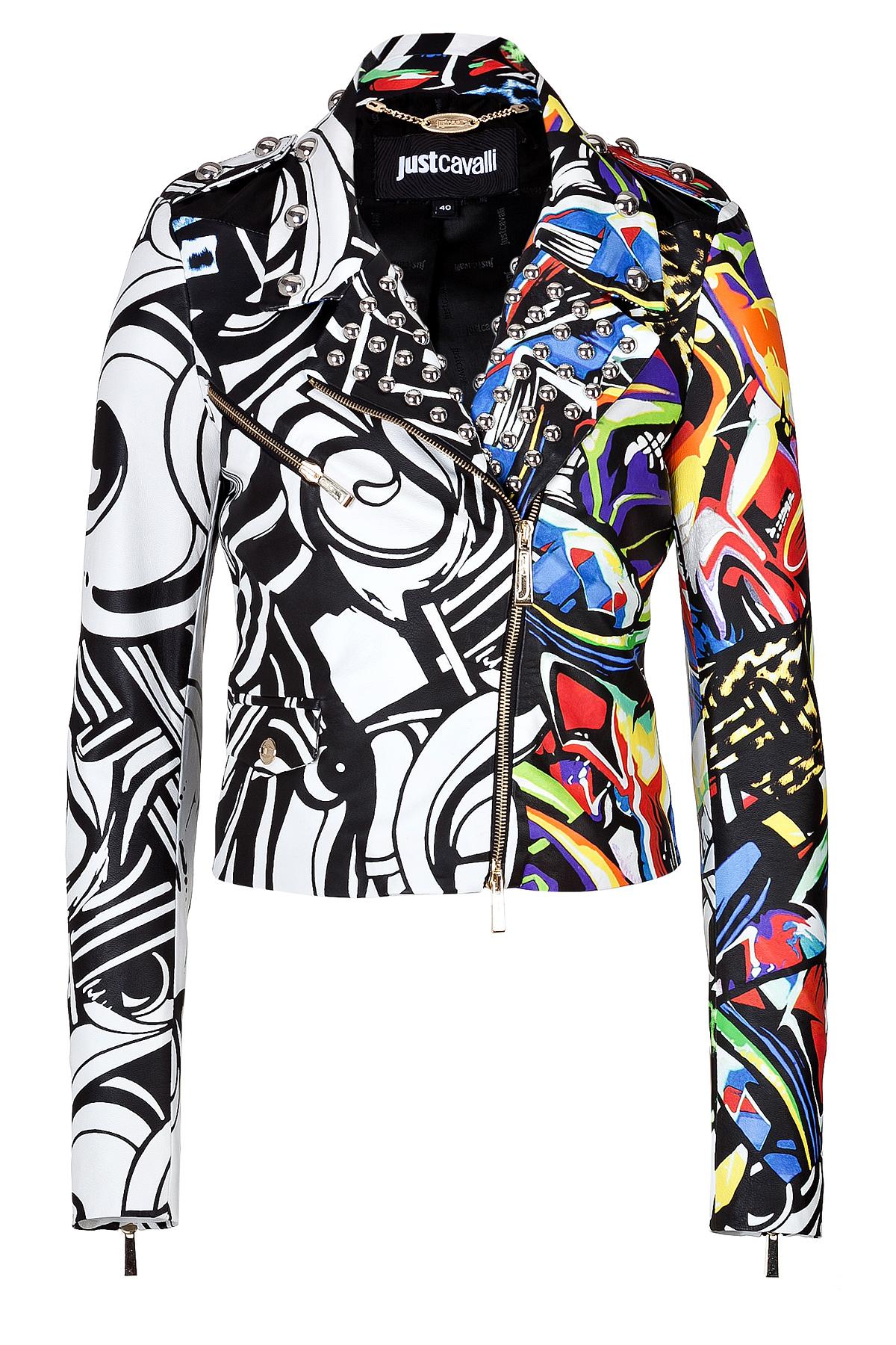 Just Cavalli Leather Graffiti Print Biker Jacket In