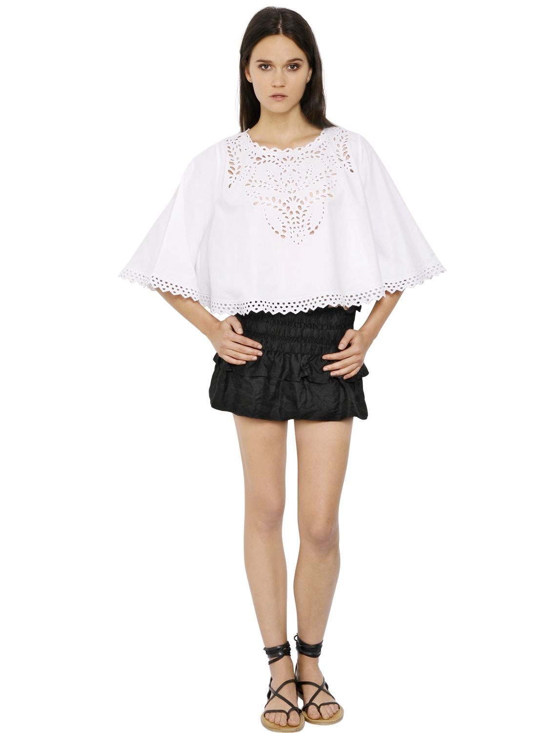 lyst toile isabel marant embroidered cotton cropped top in white. Black Bedroom Furniture Sets. Home Design Ideas
