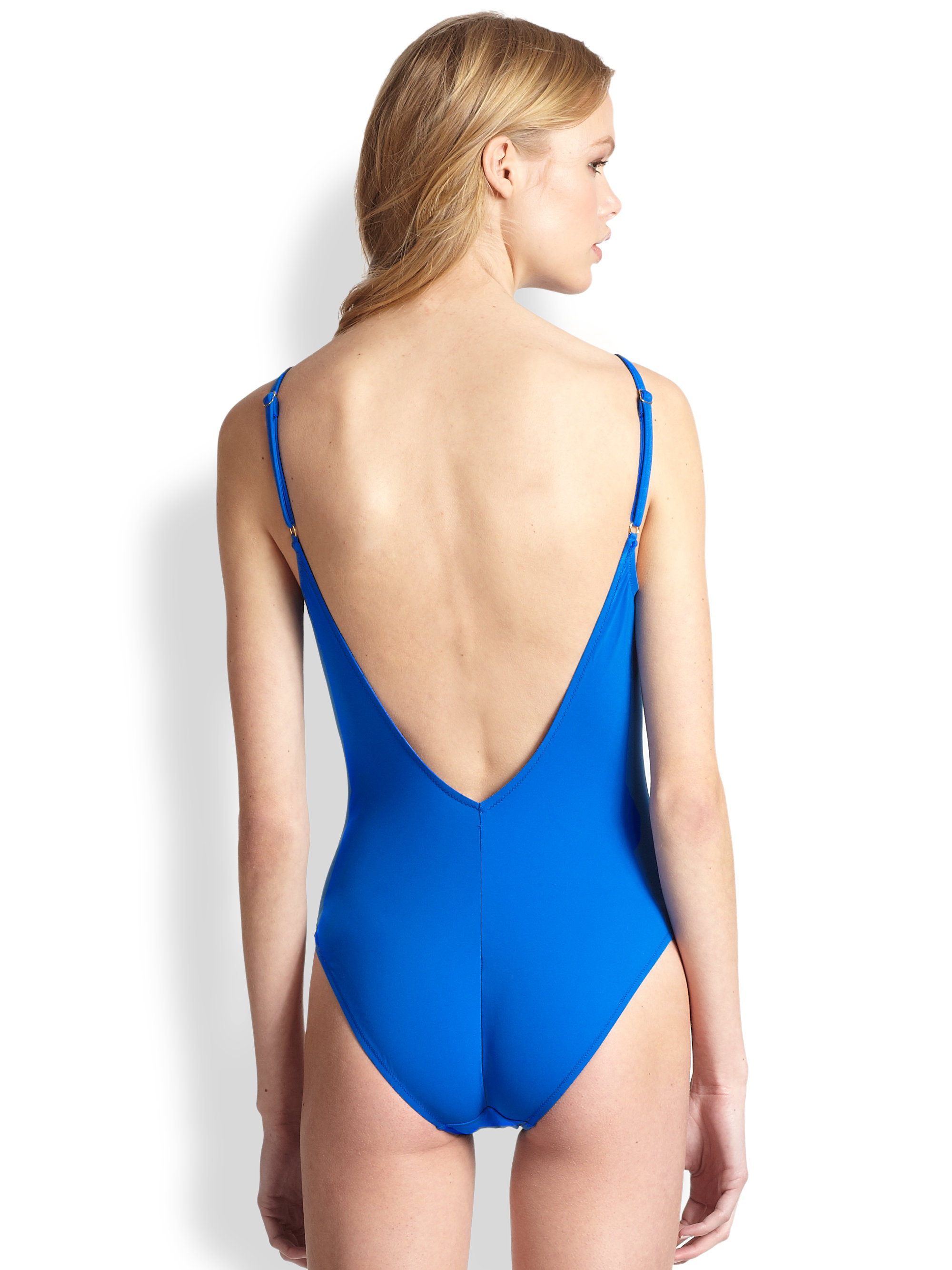 Gottex One-Piece Le Ribot V-Neck Swimsuit in Blue - Lyst