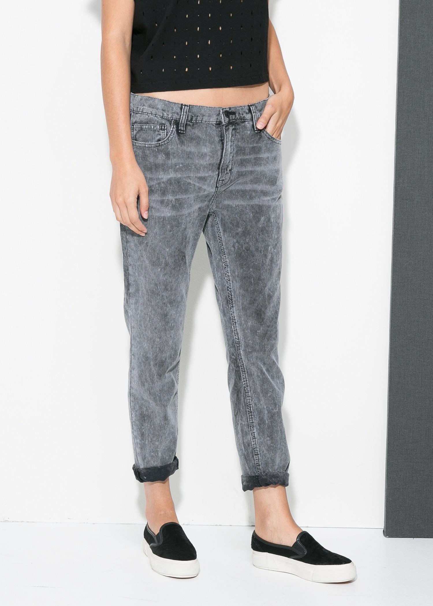 Mango Corduroy Boyfriend Jeans in Gray | Lyst