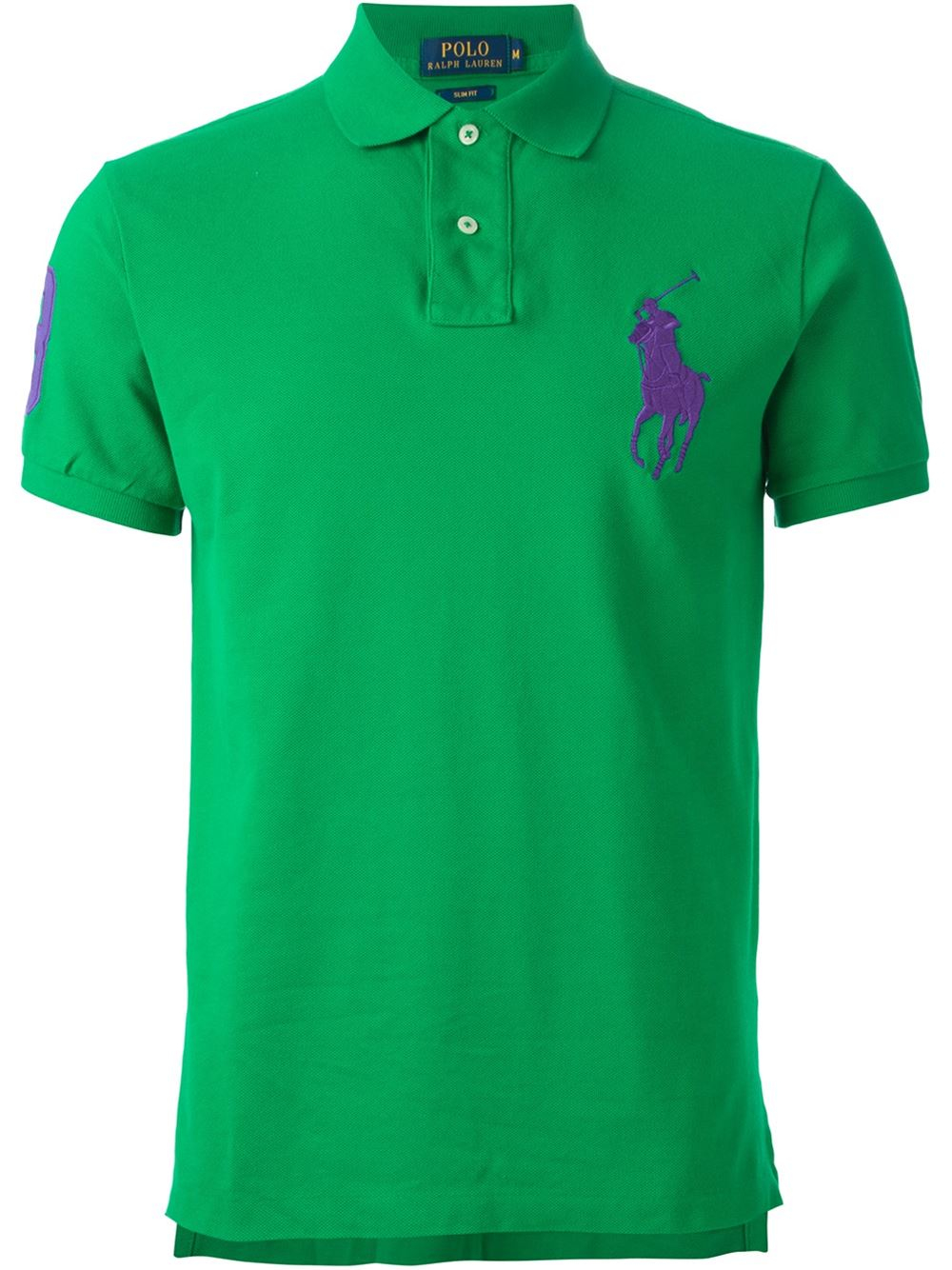 Polo ralph lauren logo embroidered polo shirt in green for for Polo shirts with logos