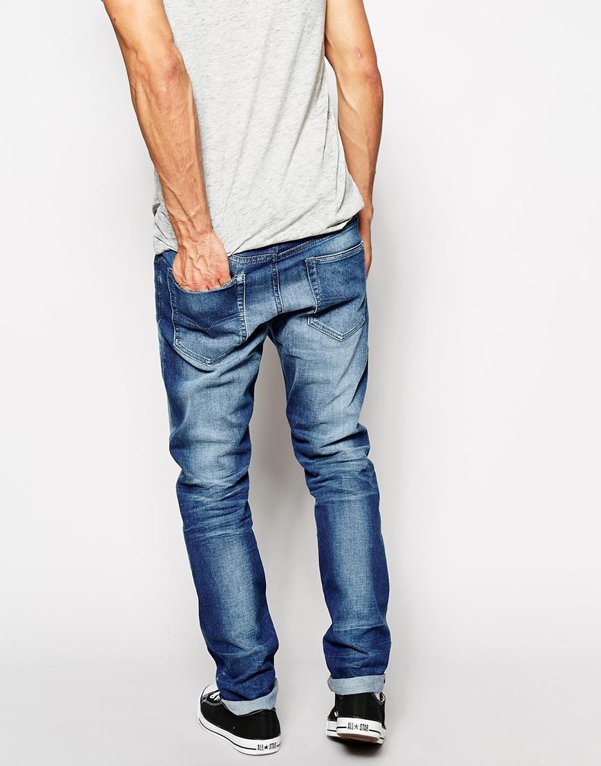 lyst diesel jeans buster 831d regular tapered fit mid wash in blue for men. Black Bedroom Furniture Sets. Home Design Ideas
