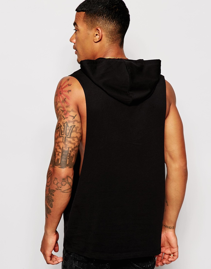 c02e61f42229a Lyst - ASOS Sleeveless T-shirt With Extreme Dropped Armhole And Hood ...