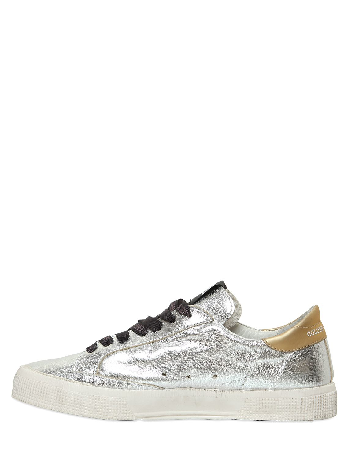 Golden Goose 20MM MAY METALLIC LEATHER SNEAKERS WE3JPO