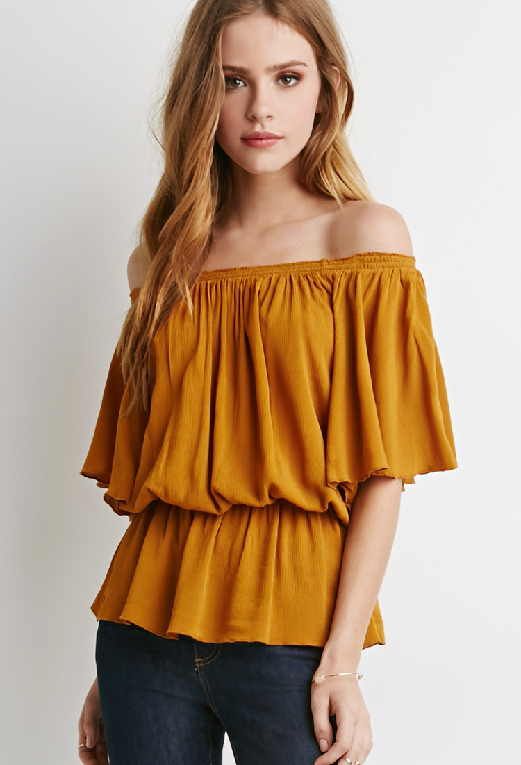Lyst Forever 21 Butterfly Sleeve Gauze Blouse In Yellow