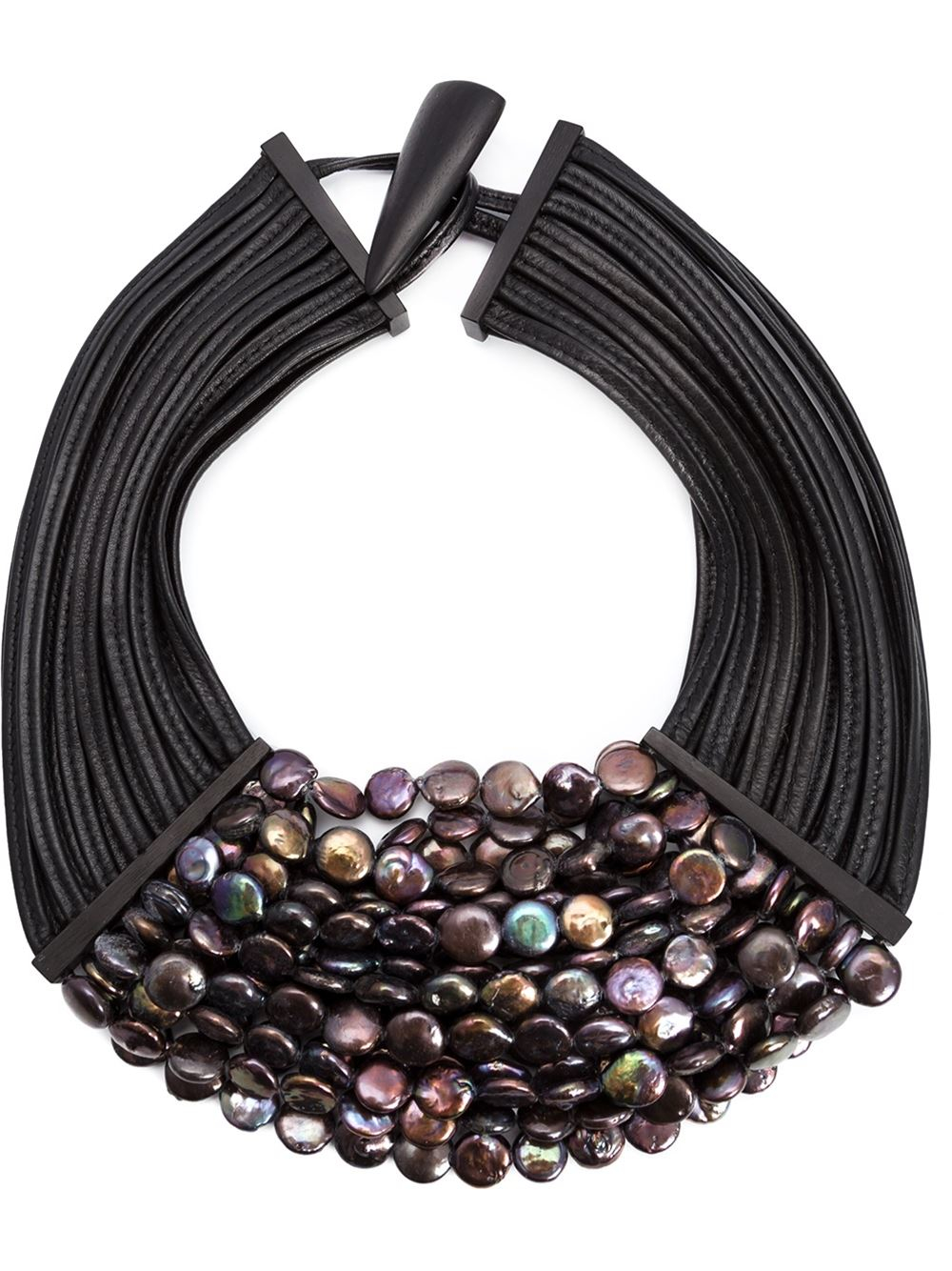 lyst monies multistrand necklace in black