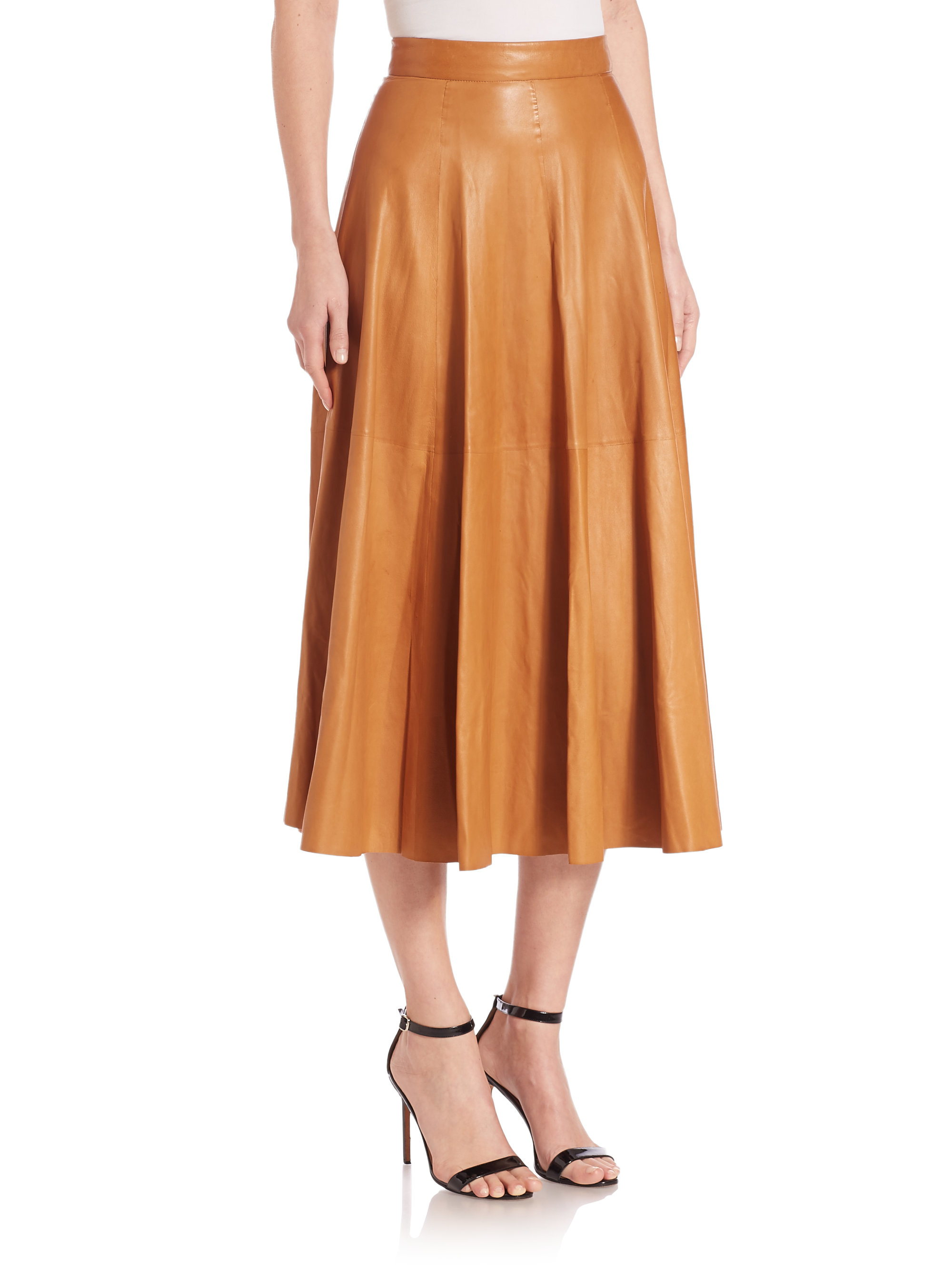 ralph collection roxana leather midi skirt in