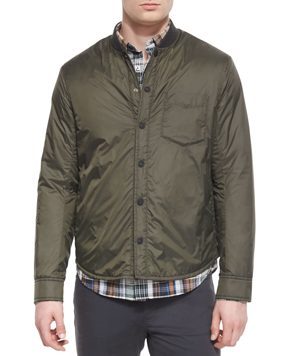 Vince Lightweight Nylon Shirt Jacket in Brown for Men | Lyst