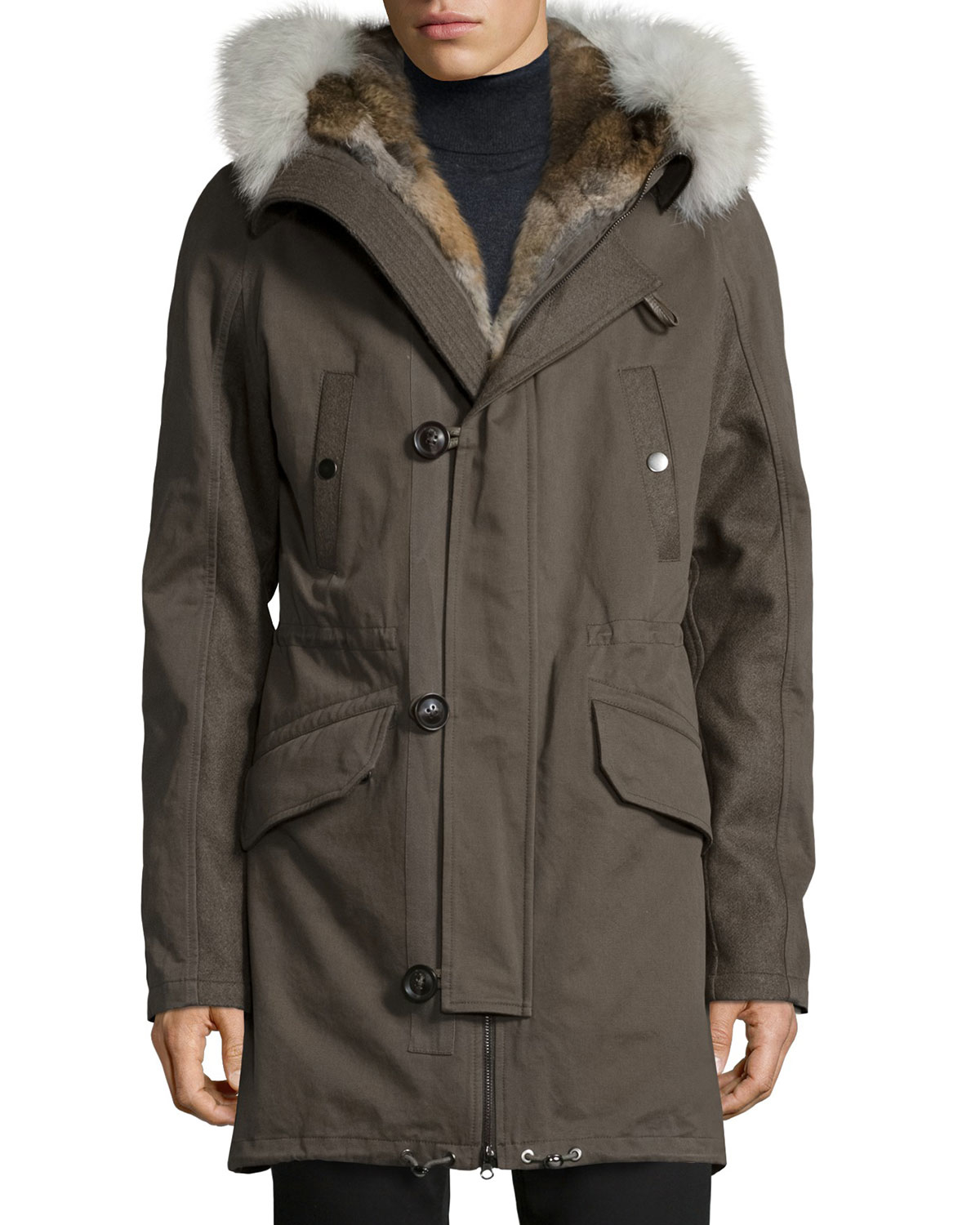Yves salomon Fur-lined Hooded Fishtail Parka in Green for Men | Lyst